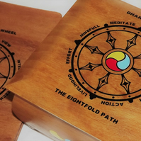WHEEL of DHARMA. Spiritual Handmade solid wood box and MATCHING wooden NOTEBOOK.