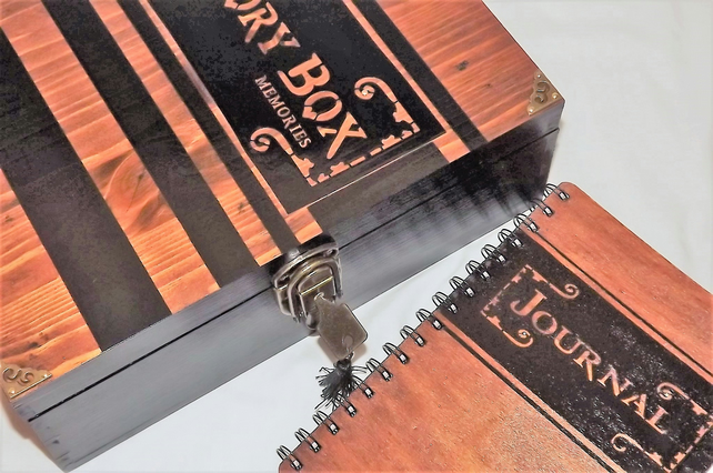 Large LOCKABLE WOODEN MEMORY BOX with matching WOODEN JOURNAL. Black. Rosewood