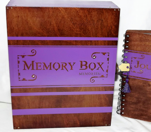 Large LOCKABLE WOODEN MEMORY BOX With a MATCHING wooden Journal. Storage. Dairy.