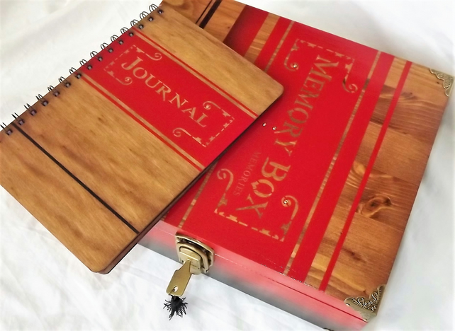 Matching wooden JOURNAL comes with this LARGE Lockable MEMORY BOX. Gift Set.
