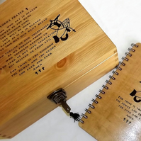 THE LORD'S PRAYER Large Lockable Wooden Box & Wooden Religious Journal.