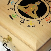 LOCKABLE CHAKRA BOX. Handmade Spiritual Jewellery box