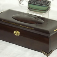 Mahogany and Brass lockable deluxe wooden box with claw feet and brass inlay.