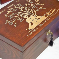 LOCKABLE ENGRAVED Handmade Chakra Tree Of Life wooden box. Spiritual Storage