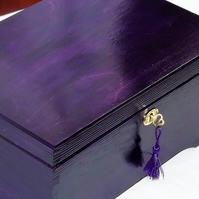 LOCKABLE HANDMADE PURPLE Wooden jewellery Storage BOX with LOCK and KEY