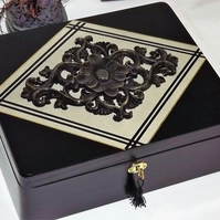 LOCKABLE WOODEN Jewellery Storage Box with black CARVED wooden centrepiece.