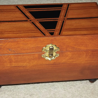 FREE POST - Deluxe AGED 3 tone Solid WOOD Jewellery Box. HANDMADE. UNIQUE.
