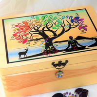 CHAKRA TREE of LIFE  - Meditation by the Sea. Natural Wooden Chest