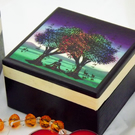 1 MINI BOX With MATCHING PENDANT - PURPLE Jewellery Box GIFT SET.