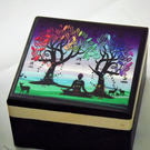 1 PURPLE Wooden MINI BOX with MATCHING PENDANT  - GIFT SET Jewellery Box.