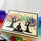 21cm x 16cm CHAKRA TREE AFFIRMATION and GRATITUDE. WOODEN BOX. SPIRITUAL DECOR.