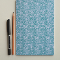 a5 notebook, Blue Floral notebook, Journals and notebooks, stationary and office