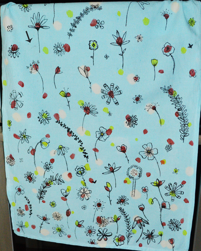 Kitchen tea towel, Hand painted, floral pattern kitchen accessories SALE