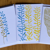 Set of blank cards, printed lino cards