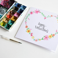 Valentines day card, happy valentines, floral card, hand painted, love card,