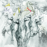 Large A1 Digital Print - 'Stampede' Horse drawing collage