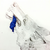 Giclee Print. Hand finished with glitter- 'Wolf with Blue Glitter Tongue'