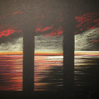 Original Pastel Drawing 'Red Scottish Sunset triptych'
