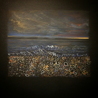 Original Pastel Drawing 'Pebble Beach, Auchmithie, Scotland