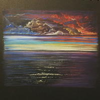 Original Pastel Drawing 'Scottish Sunset'