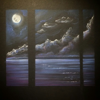 Original Pastel triptych 'Blue Moon'