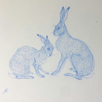 Original Drawing Framed - 'Little Talk (Blue Hares)'  pencil on paper