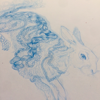 Original Drawing - 'Braided Hare' Blue pencil