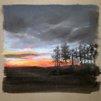 Original Pastel Drawing - 'Sunset over Fife'