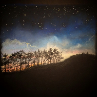 Original Pastel and ink landscape Drawing - 'Starry Fife Sky'