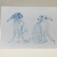 A5 Greeting Card 'Two Blue Hares'