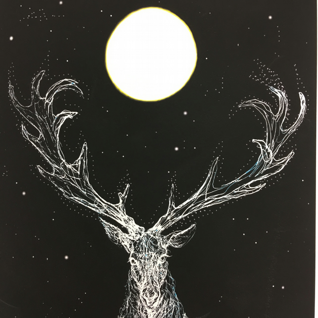 Monarch of the Moon stag A4 Print
