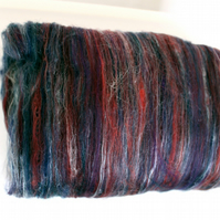 Carded Batt Merino Wool Silk hand carded Midnight Oasis 100gram XL