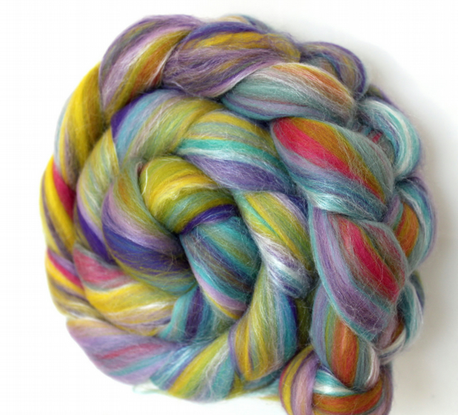 Lilac n Lime Blend Luxury Merino and Silk combed wool top 100g
