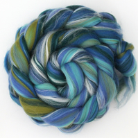 Seascape Custom Blend Merino and Silk Combed Top 100g for Spinning and Felting