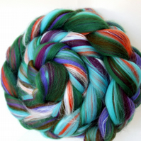 Tropical Punch - Custom Blend Merino and Silk Combed Top 100g Spinning Felting