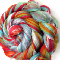 Candy Twist Custom Blend Merino and Silk Combed Top 100g Spinning and Felting