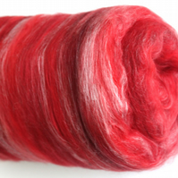 Carded Batt Merino & Silk Reds 100g Fine Merino Wool XL for Spinning or Felting