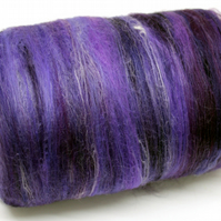 Carded Batt Merino & Silk Purples 100g Fine Merino Wool XL Spinning Felting Wool