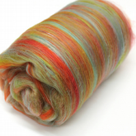 Carded Batt Merino & Silk Candy Twist 100g Fine Merino Wool XL Spinning Felting