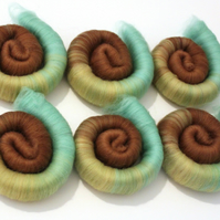 Punis Rolags Merino Wool Mint Chocolate & Banana 100g Fine Merino fibre