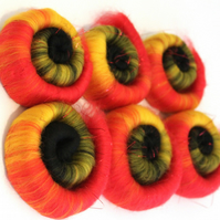 Tulips Hand Pulled Rolags Merino Wool & Angelina Sparkle 100g
