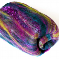 Peacock Sparkle Carded Batt Merino Wool Silk & Angelina 100g