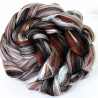 Chocolate Truffle - Merino and Silk Combed Top Roving 100g Spinning Felting