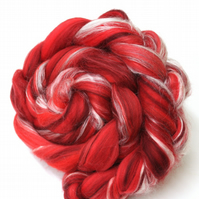 The Red One - Merino and Silk Combed Top Roving 100g Spinning Felting
