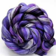 The Purple One - Merino and Silk Combed Top Roving 100g Spinning Felting