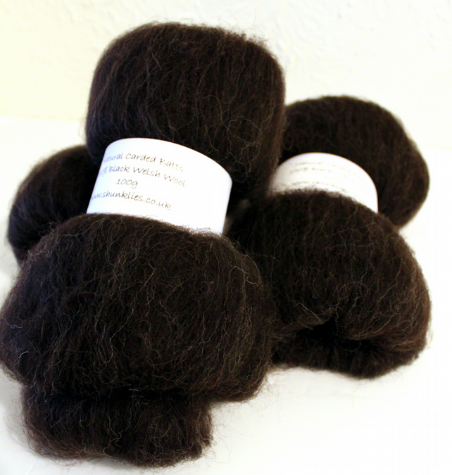 Black Welsh Wool Hand Carded Batts 300g