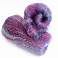 Carded Batt Merino & Silk Kingfisher 100g Fine Merino Wool XL Spinning Felting