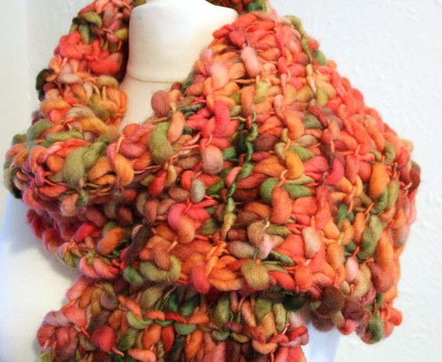 Scarf hand Knit Pure Falkland Wool Hand Dyed