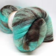 Carded Batt Merino Wool & Silk Mint Chocolate 100g
