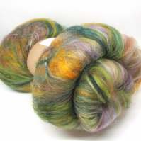 Carded Batts Dyed fine Merino Wool & Silk Blend - Autumn 100g